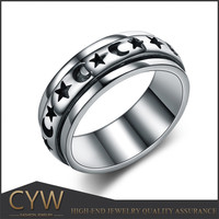 Moon and star stamp that movable middle ring of tai silver ring from China alibaba