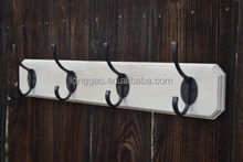 Antique Wall Mounted Coat Hat Rack with Painted White MDF board and 4 Hooks