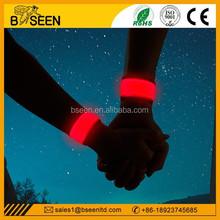 Best selling led slap band custom reflective slap bracelets glow in dark armband for safety running