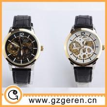 el último de cuero negro reloj de pulsera mecánico para la venta