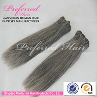 Fast delivery Gray color Chinese human hair extension with wholesale price accept Escrow
