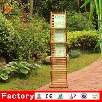 Floor display a5 bamboo magazine zigzag folding metal brochure holder