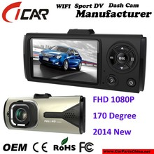 Manufacture, Fisheye Full HD 1080P wide angle 170 Degree Lens Car DVR with Great Night Vision Motion Detection Car DVR