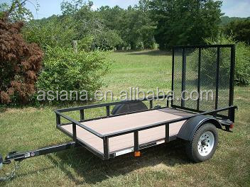 Hard wood floor utility trailer with gate ramp ut001 for Wood floor utility trailer