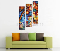3 piece modern decor art set Lovely couple in Romantic city street palette knife hand painted Oil Painting on Canvas