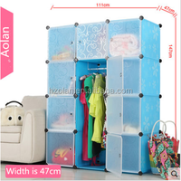 147*47*111cm Baby plastic storage cube cabinet wardrobe/sky blue wardrobe
