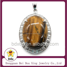 High Quality Casting Stainless Steel Four Claws Pendant Setting With Oval Agate Tiger Eye Stone For Indonesia Jewelry Findings