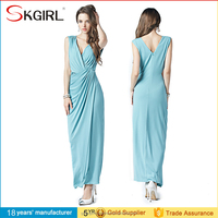 Customized New Modern Women V Neck Plain Dyed Casual Dresses Pleated Cocktail Dress