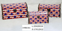 Red star gift box wooden canvas storage box for kids