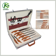 Wholesale hign-end 24pcs of stainless steel knives set with aluminum case/german knife