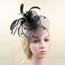 European Style Party Feather Fascinator Whlolesale Girls Hair Accessories