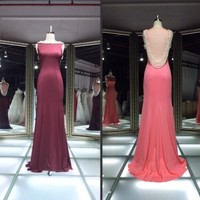 Hot sale off shoulder see back evening dress /2014 sexy sheath floor length sheer sexy sleeveless formal evening dress wholesale