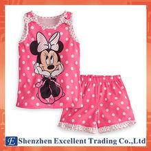 Cutely Design Bowknot Decoration Mickey Vest Polka Dots Short Pants Girls Sets