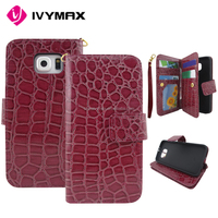 Book style stand flip genuine leather wallet case for Samsung s6 with card slots