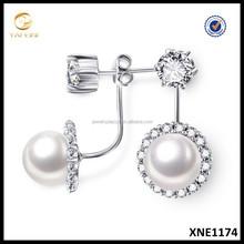 2015 Hot Sell Silver Pearl Stud Earrings Fashion Jewelry Wholesale Big Pearl Earrings