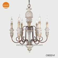 New Rustic Old World French Six Light pineapple patern wood Chandelier,vintage distressed wrought iron pendant lamp with CE/UL