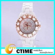2014 High Quality Quartz Diamonds Wristwatch Ceramic luxury watch