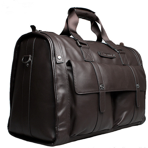 custom large brown men leather travel bag by china supplier