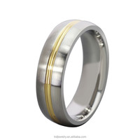 Men's Wedding Band Finger Ring With 18k Gold Plated Striped Groove On The Centre
