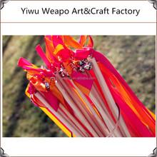 Factory Direct Sale Cheap Halloween Wedding Ribbon Wand Mixed Color Ribbon Wand