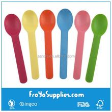 Heavy Duty Custom Colored PLA Cornstarch Biodegradable Plastic Frozen Yogurt Spoons for Ice Cream