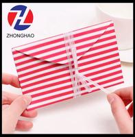 2015 new arrive stripe pink elegant craft with ribbon decorative unique foldable paper card