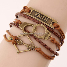 RS-YS61R44 Steampunk Braided BRACELET / trend faith handcuffs Bow and arrow Multilayer woven leather bracelet
