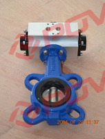 Double acting wafer type epdm seal pneumatic auto butterfly valve