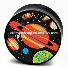 Fashion Planets Black Saddle UV Acrylic Jewelry Ear Gauge Plugs Custom Body Piercing