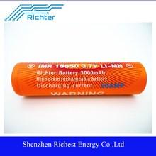 Richter brand li ion 18650 3.7v 3000mah battery for power tools