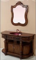 Circular arc surface antique bathroom vanity cabinet