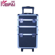 Women Fashion Retractable Handle 4 Tiers Cosmetic Rolling Case