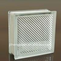 Clear oblique line glass block,190*190*80MM China glass brick