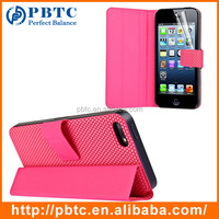 Set Screen Protector And Case For Iphone 5 , Pink Hexagon Pattern PU Plain Flip Leather Case Cover