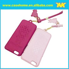 cute neck hang PU leather back case for iphone 5/5s