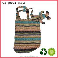 2015 folding shopping bag polyester natural cotton string net shopping bag