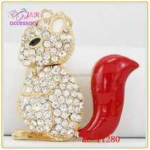 lovely squirrel with a big tail rhinestone key holder