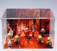 New plastic/acrylic small dolls/toys/gifts dislay case/box with background image