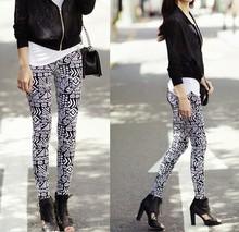 Wholesale women skinny skull geometric print elasticity one size fits all tights leggings sv008961