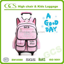 Pink Wheeled Students Book Carry Bag Rolling School Backpack Bag with Trolley