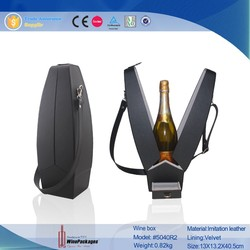 Black Plain Leather Single Wine Carrier With Leather Shoulder Handle