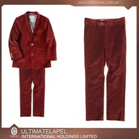 2015 new arrving high quality 100% wool red velvet suits boy