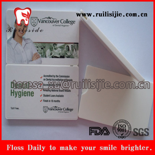 Forma de higiene bucal menta encerado com sabor cartão fio dental