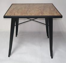 Slate Wood Top Metal Base Dining Table