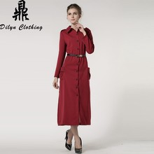 single breasted long dress European style formal suit fashion muslim dress abaya with belt