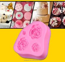 decorativos 3d fondant rosa de silicone do molde para decoração do bolo