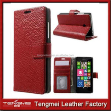 Peapod Genuine Leather Wallet Stand Flip Case for Nokia Lumia 630 - Red