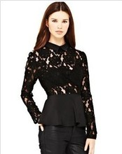 Fashionable Dollar neckline quality peplum tops Long sleeve design
