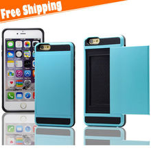 Credit Card Holder Stand Combo Hybrid Silicone Plastic Hard Cover Case for iPhone 6 Plus 5.5