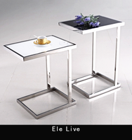 fashion coffee table, stainless steel coffee table, side sofa table with tempered glass surface